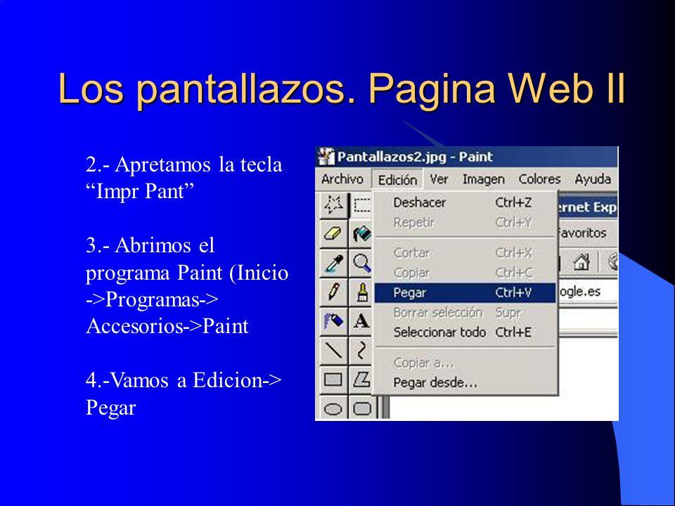 Los pantallazos. Pagina Web II