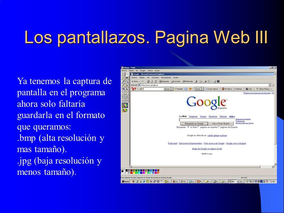 Los pantallazos. Pagina Web III