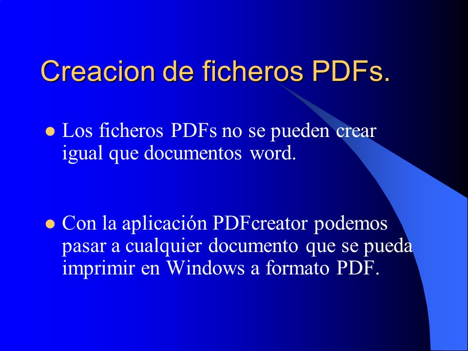 Creacion de ficheros PDFs.
