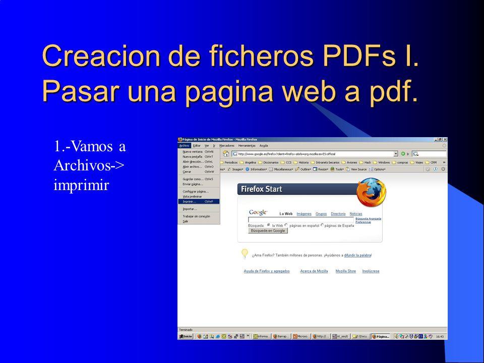 Creacion de ficheros PDFs I. Pasar una pagina web a pdf.