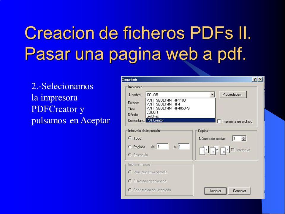 Creacion de ficheros PDFs II. Pasar una pagina web a pdf.