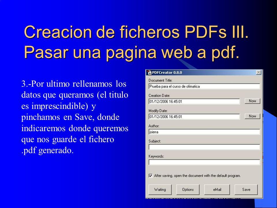 Creacion de ficheros PDFs III. Pasar una pagina web a pdf.