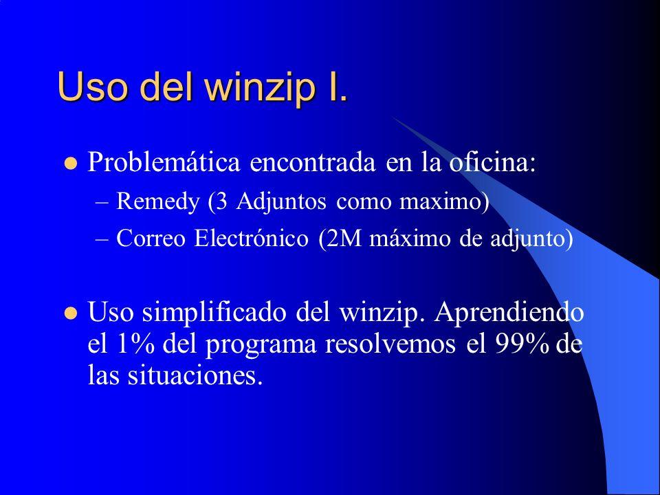 Uso del winzip I. Problemática encontrada en la oficina:
