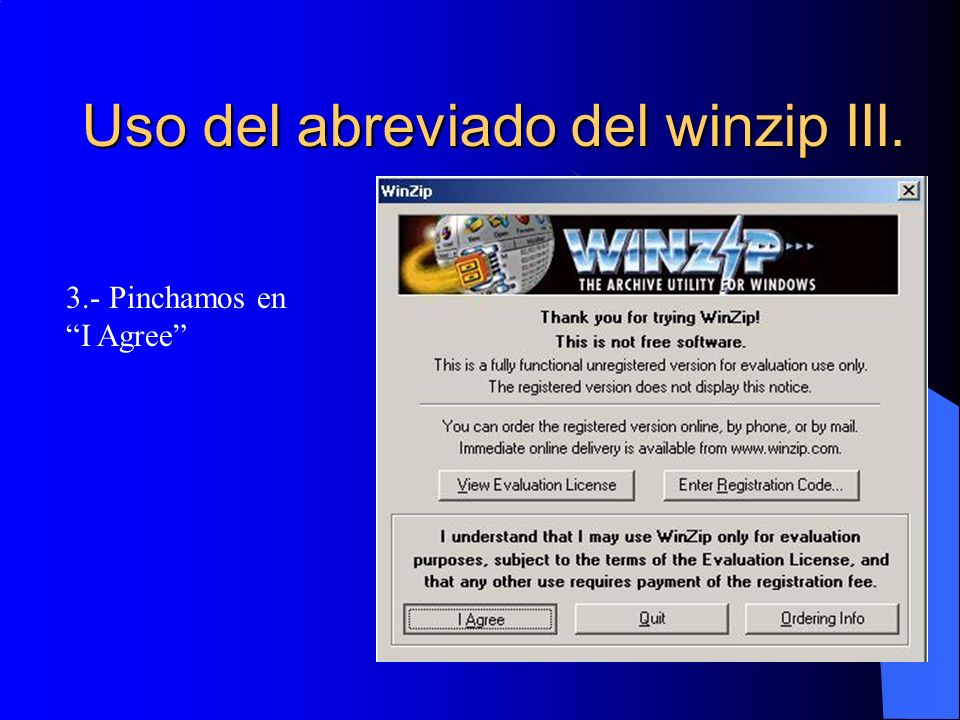 Uso del abreviado del winzip III.