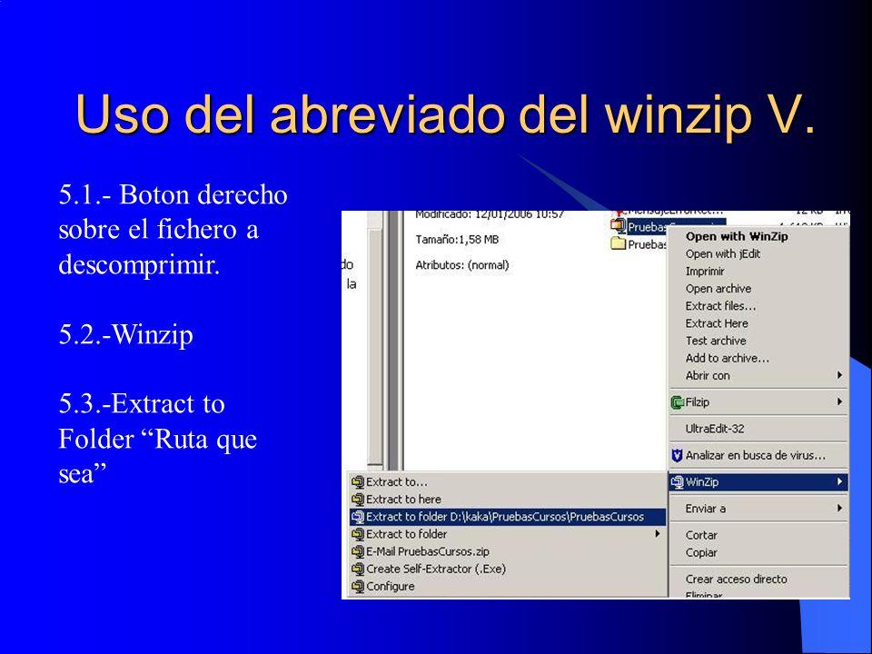 Uso del abreviado del winzip V.