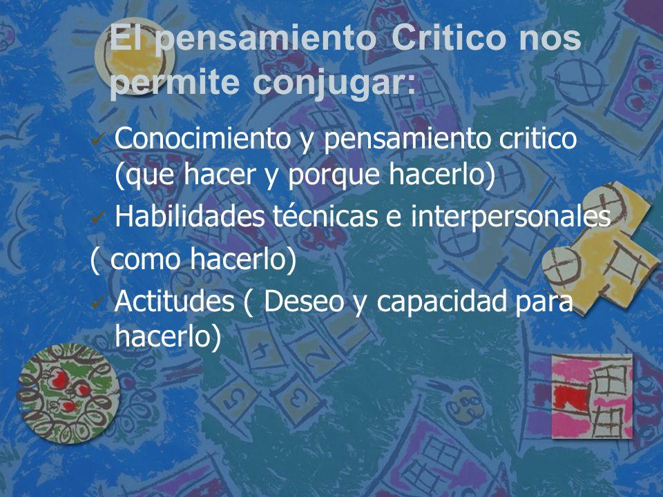 El pensamiento Critico nos permite conjugar:
