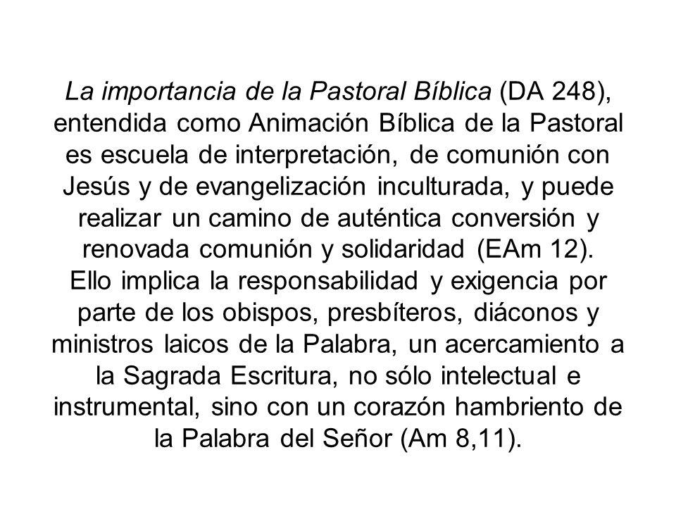 La importancia de la Pastoral Bíblica (DA 248), entendida como Animación Bíblica de la Pastoral es escuela de interpretación, de comunión con Jesús y de evangelización inculturada, y puede realizar un camino de auténtica conversión y renovada comunión y solidaridad (EAm 12).