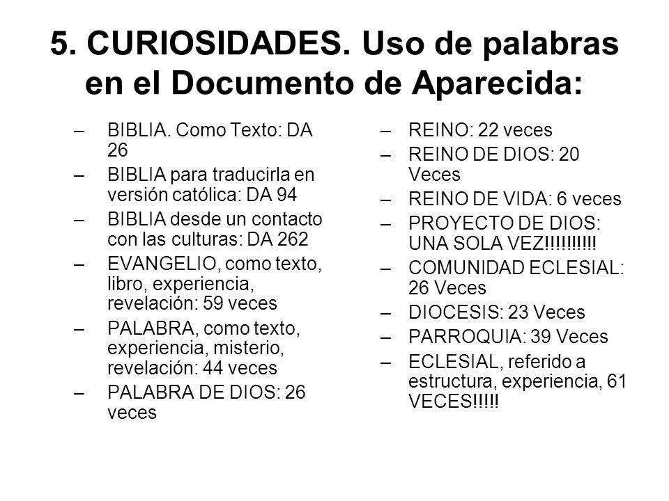 5. CURIOSIDADES. Uso de palabras en el Documento de Aparecida: