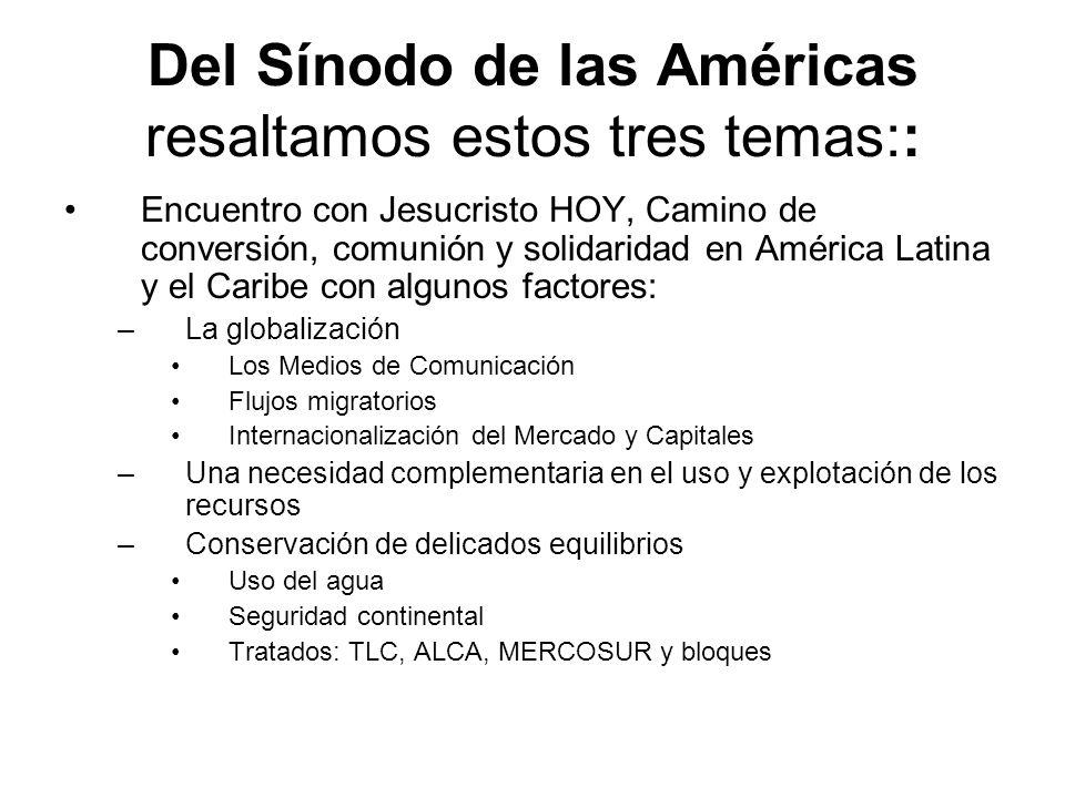 Del Sínodo de las Américas resaltamos estos tres temas::