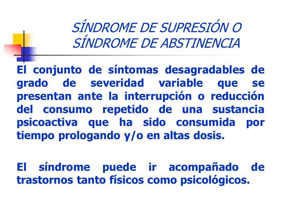 SÍNDROME DE SUPRESIÓN O SÍNDROME DE ABSTINENCIA