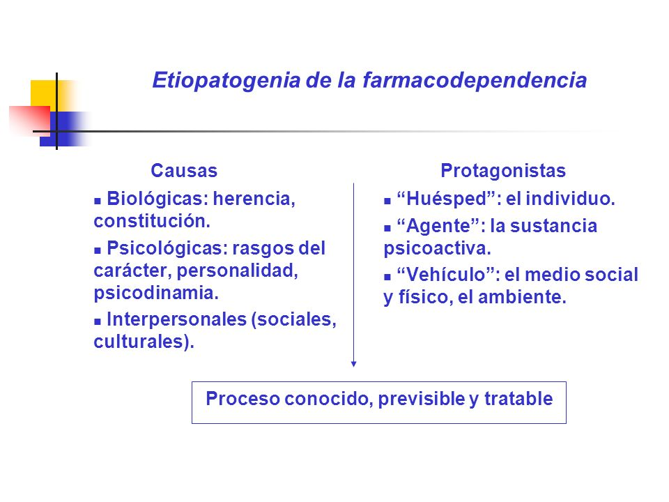 Etiopatogenia de la farmacodependencia