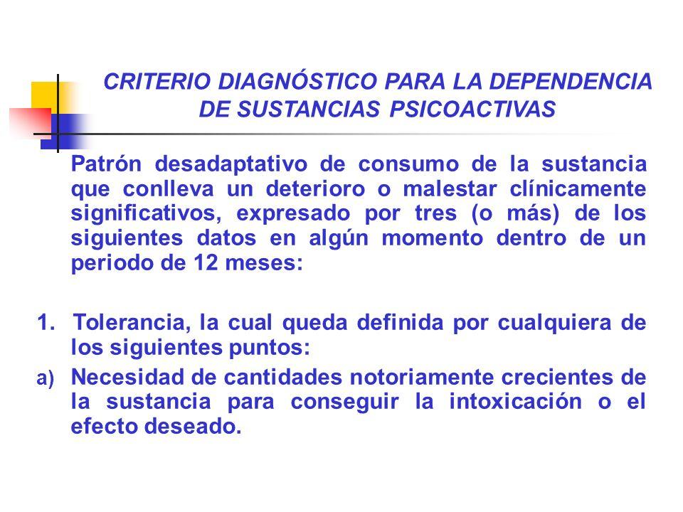 CRITERIO DIAGNÓSTICO PARA LA DEPENDENCIA DE SUSTANCIAS PSICOACTIVAS