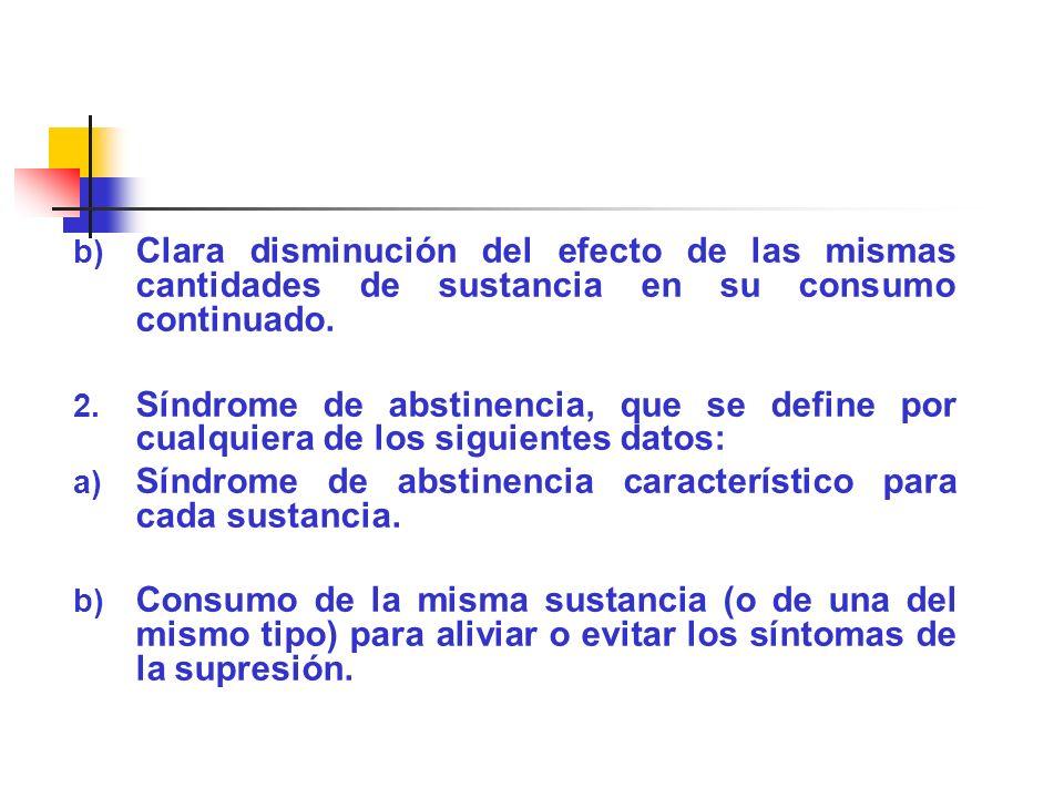 Clara disminución del efecto de las mismas cantidades de sustancia en su consumo continuado.