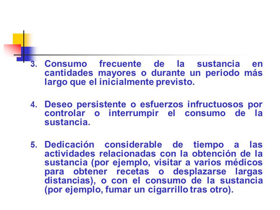 Consumo frecuente de la sustancia en cantidades mayores o durante un periodo más largo que el inicialmente previsto.