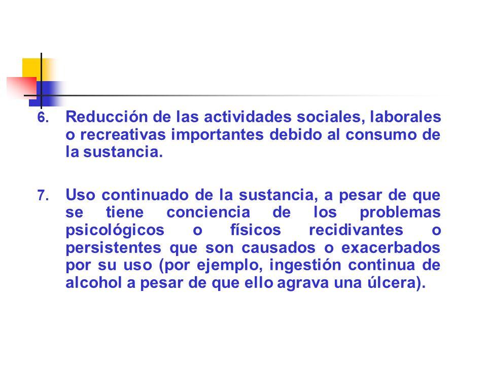 Reducción de las actividades sociales, laborales o recreativas importantes debido al consumo de la sustancia.