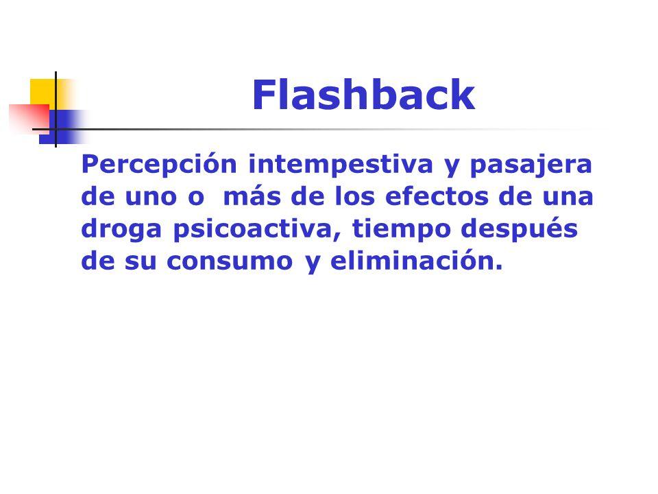 Flashback Percepción intempestiva y pasajera de uno o más de los efectos de una droga psicoactiva, tiempo después de su consumo y eliminación.