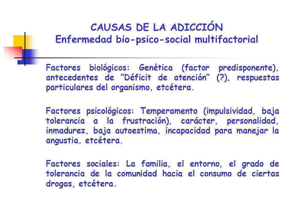 CAUSAS DE LA ADICCIÓN Enfermedad bio-psico-social multifactorial