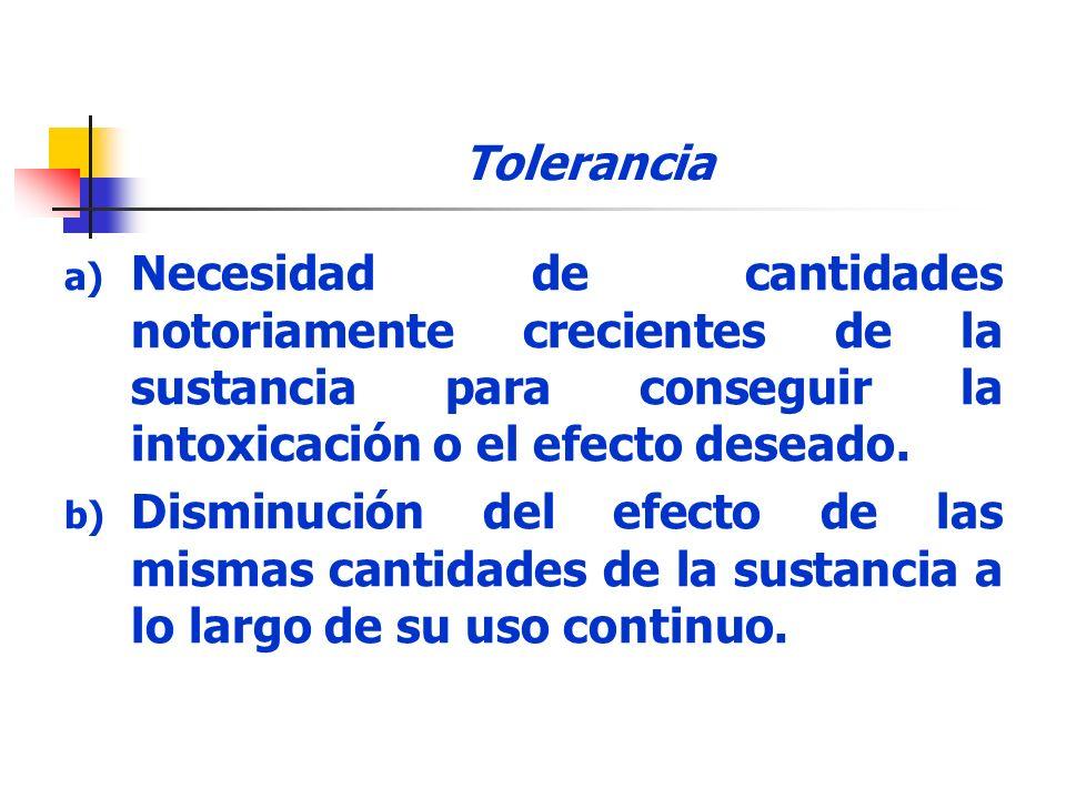 Tolerancia Necesidad de cantidades notoriamente crecientes de la sustancia para conseguir la intoxicación o el efecto deseado.