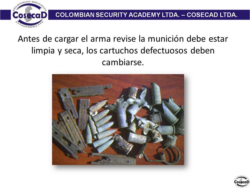 Antes de cargar el arma revise la munición debe estar limpia y seca, los cartuchos defectuosos deben cambiarse.