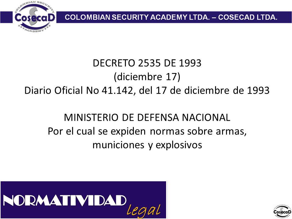 legal NORMATIVIDAD DECRETO 2535 DE 1993 (diciembre 17)