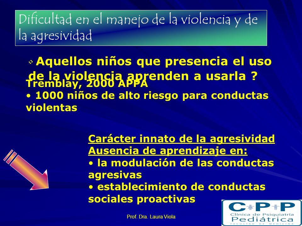 Dificultad en el manejo de la violencia y de la agresividad