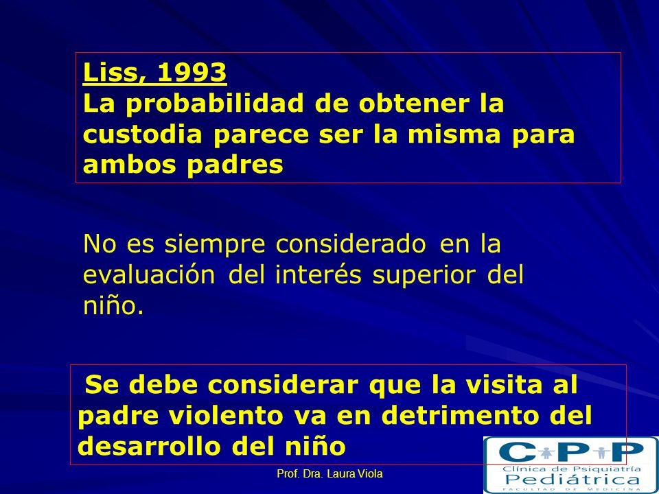 Liss, 1993La probabilidad de obtener la custodia parece ser la misma para ambos padres.