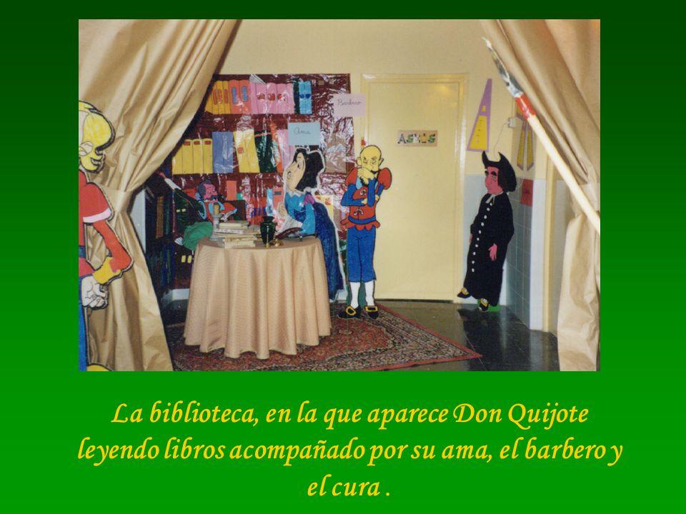 La biblioteca, en la que aparece Don Quijote leyendo libros acompañado por su ama, el barbero y el cura .