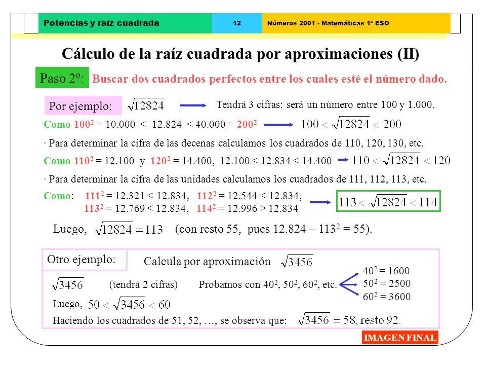 Cálculo de la raíz cuadrada por aproximaciones (II)