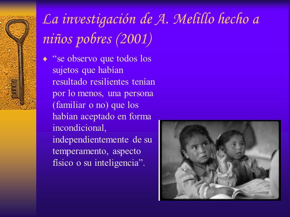 La investigación de A. Melillo hecho a niños pobres (2001)