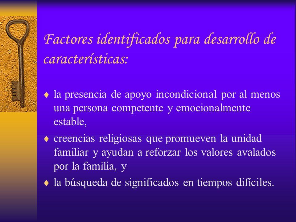 Factores identificados para desarrollo de características: