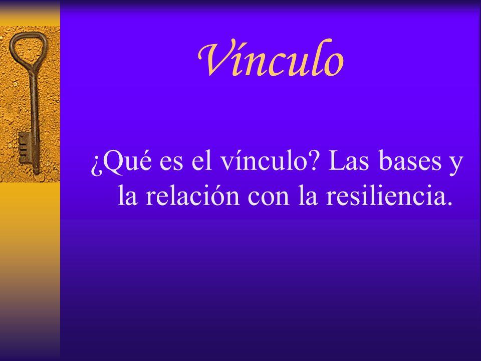 ¿Qué es el vínculo Las bases y la relación con la resiliencia.