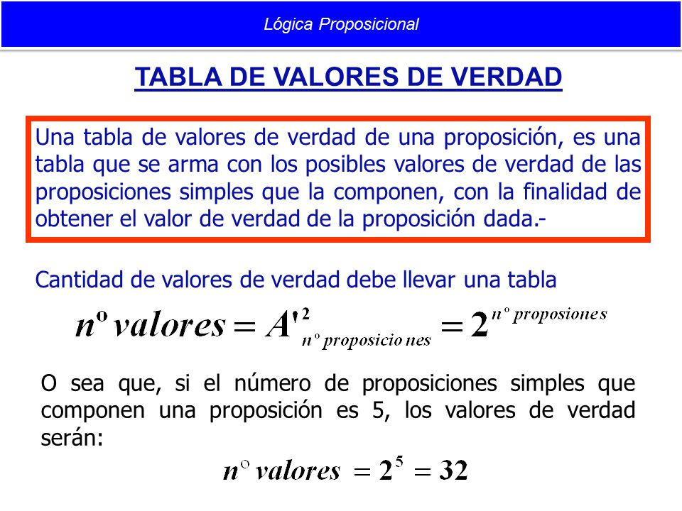 TABLA DE VALORES DE VERDAD