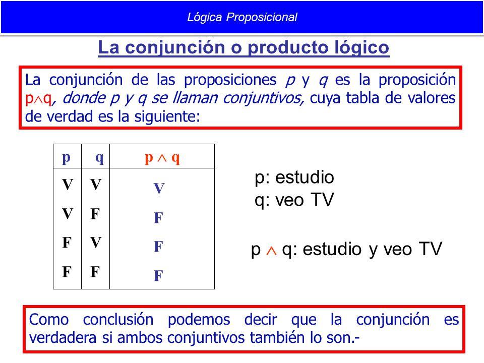 La conjunción o producto lógico