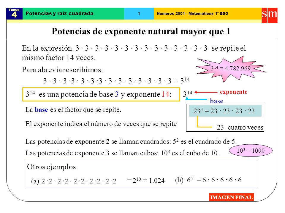 Potencias de exponente natural mayor que 1 - ppt video online descargar