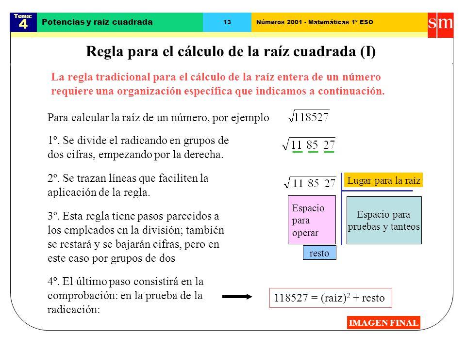 Regla para el cálculo de la raíz cuadrada (I)