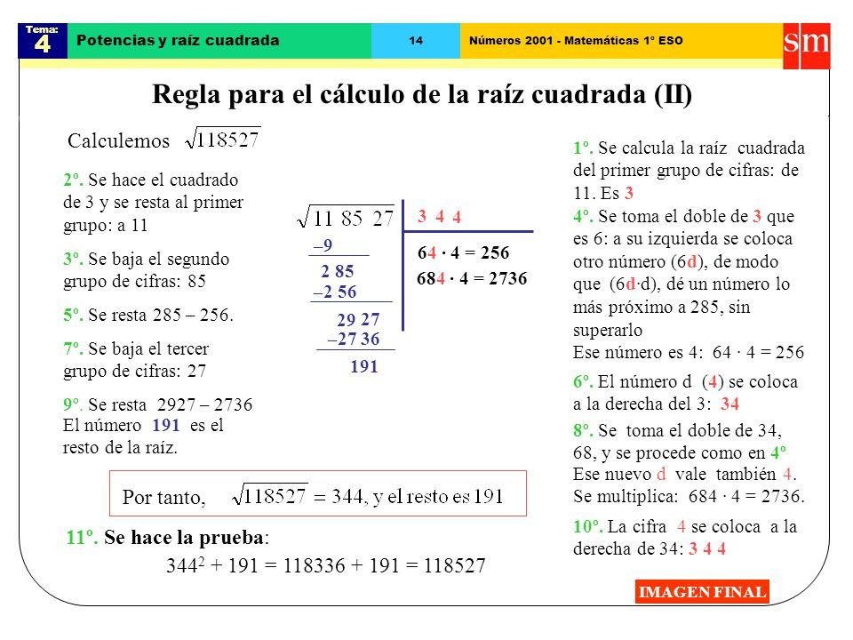 Regla para el cálculo de la raíz cuadrada (II)