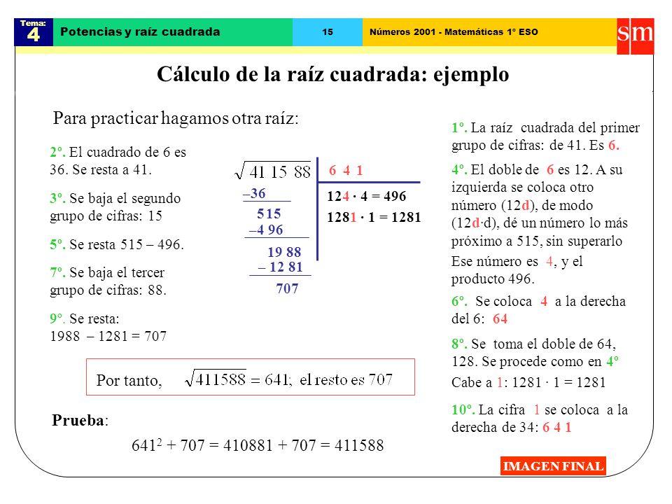 Cálculo de la raíz cuadrada: ejemplo