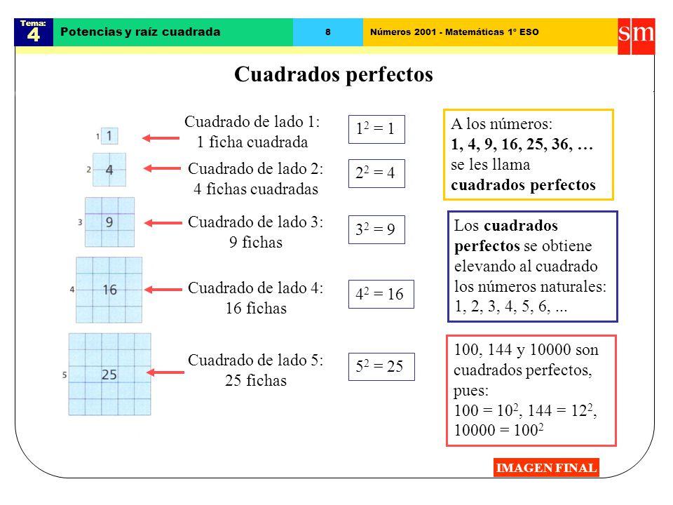 Cuadrados perfectos 4 Cuadrado de lado 1: 1 ficha cuadrada