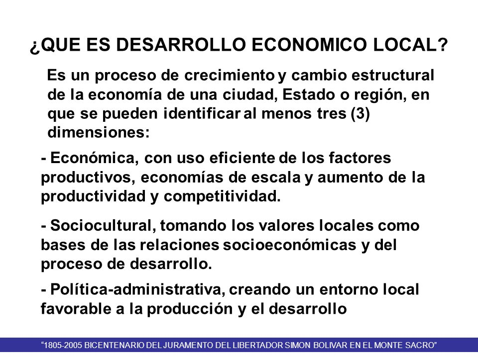 ¿QUE ES DESARROLLO ECONOMICO LOCAL