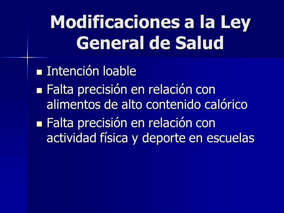 Modificaciones a la Ley General de Salud