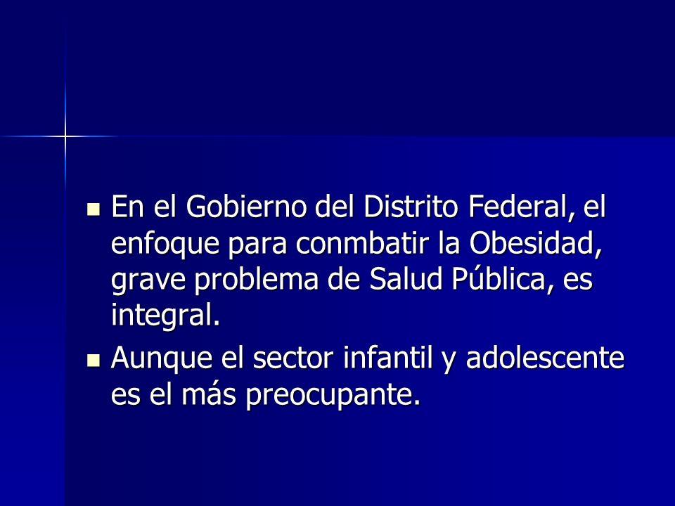 En el Gobierno del Distrito Federal, el enfoque para conmbatir la Obesidad, grave problema de Salud Pública, es integral.