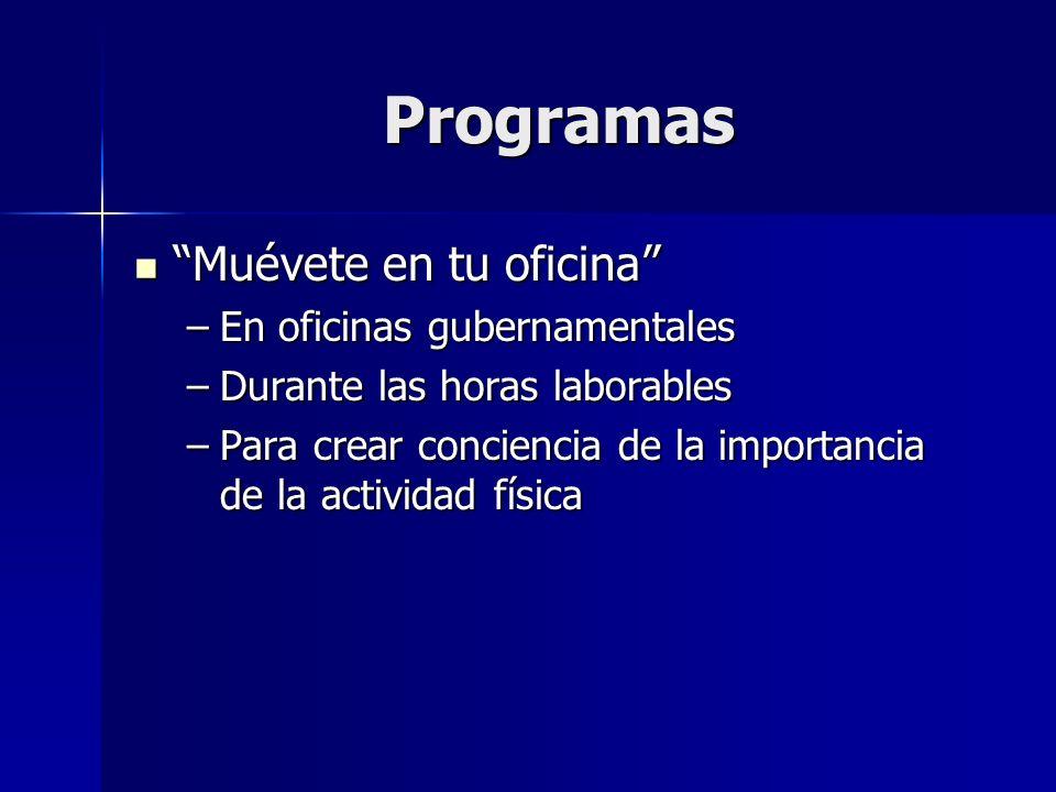 Programas Muévete en tu oficina En oficinas gubernamentales