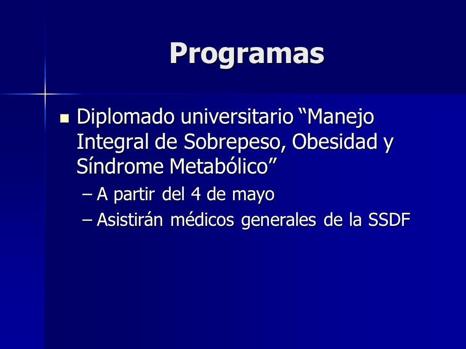 Programas Diplomado universitario Manejo Integral de Sobrepeso, Obesidad y Síndrome Metabólico A partir del 4 de mayo.