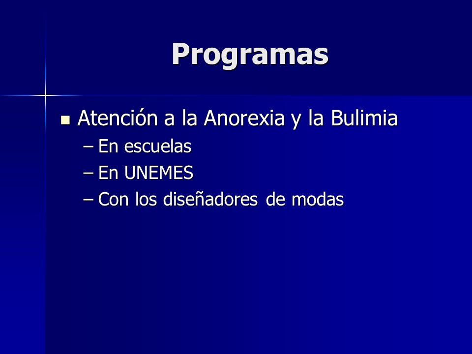 Programas Atención a la Anorexia y la Bulimia En escuelas En UNEMES