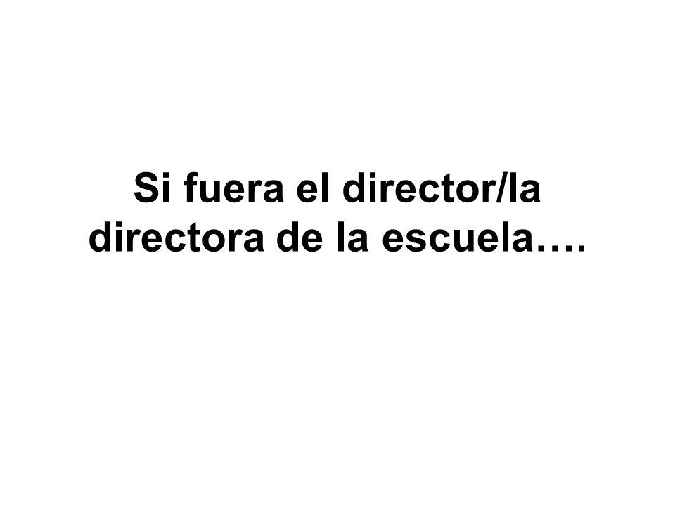 Si fuera el director/la directora de la escuela….