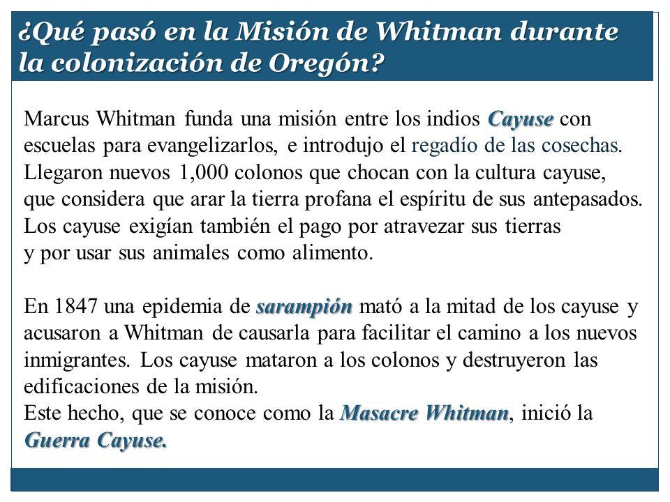 ¿Qué pasó en la Misión de Whitman durante la colonización de Oregón