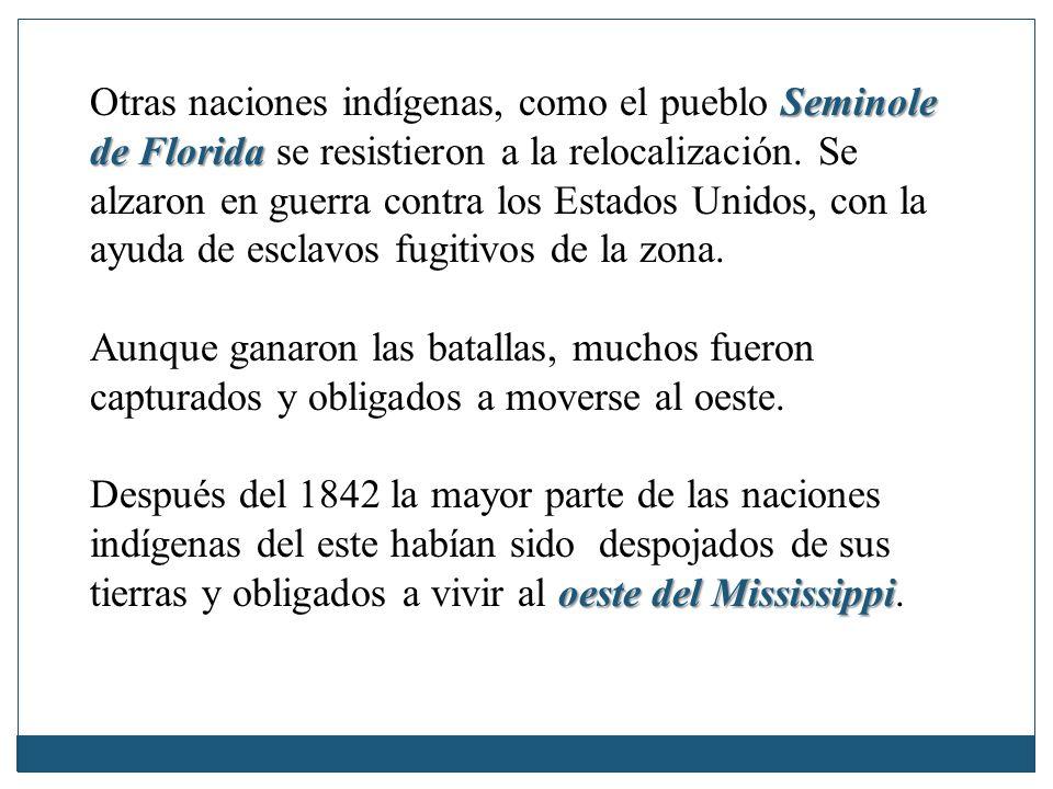 Otras naciones indígenas, como el pueblo Seminole de Florida se resistieron a la relocalización. Se alzaron en guerra contra los Estados Unidos, con la ayuda de esclavos fugitivos de la zona.