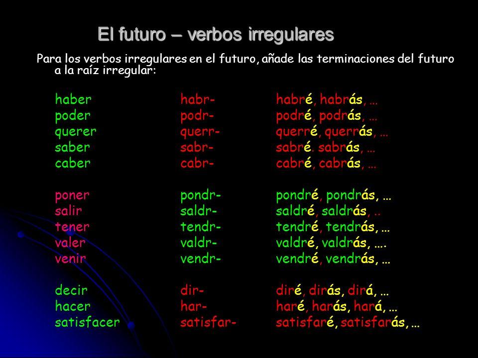 El futuro – verbos irregulares