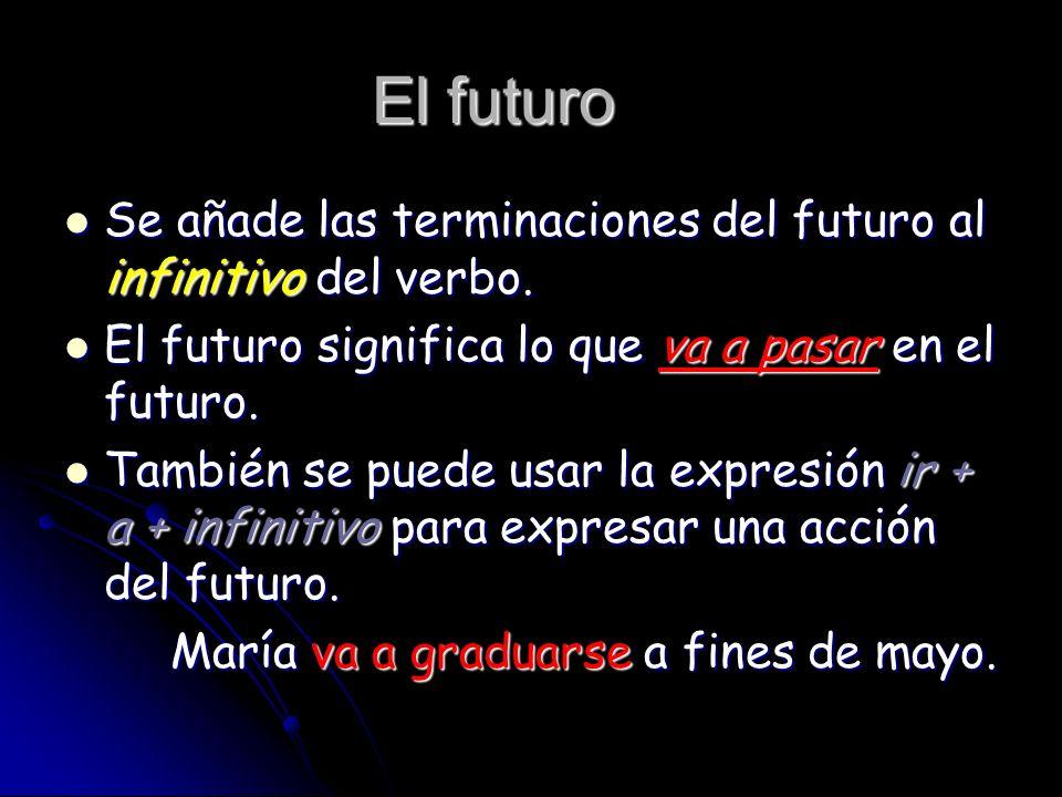El futuroSe añade las terminaciones del futuro al infinitivo del verbo. El futuro significa lo que va a pasar en el futuro.