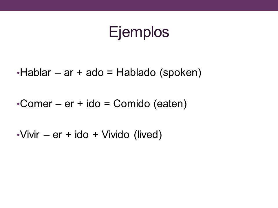 Ejemplos Hablar – ar + ado = Hablado (spoken)